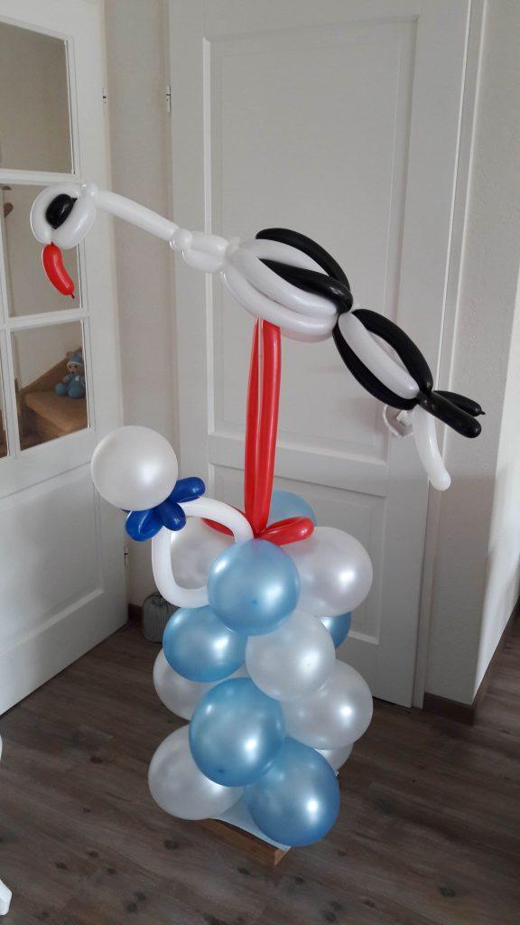 Ballonpilaar ooievaar geboorte